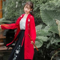 A007新款汉服女日常中国风刺绣花褙子吊带齐腰仙女裙学生表演服装